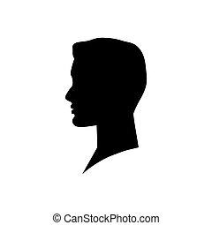 homem, cabeça, vetorial, ilustração, silhouette.