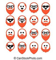 homem, calvo, barba, gengibre, ícones