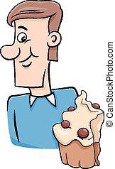 homem, caricatura, cupcake