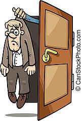 homem, caricatura, ilustração, despedido