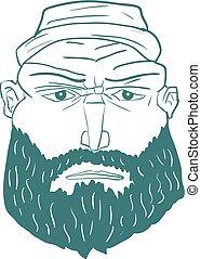 homem, caricatura, vetorial, rosto, beard., brutal