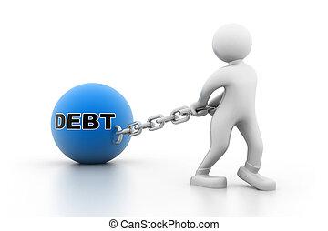 homem, carregando dívida