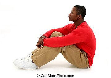 homem, casual, sentando