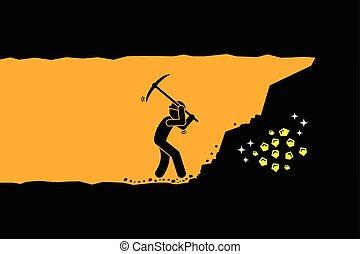 homem, cavando, ouro, e, tesouro
