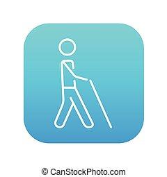 homem cego, com, vara, linha, icon.