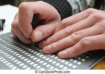 homem, cego, escrita, braille