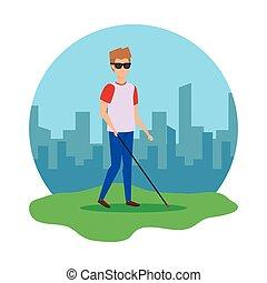 homem cego, personagem, ícone