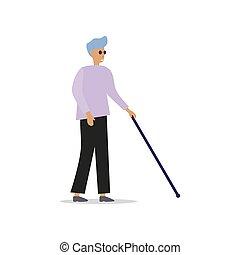homem cego, pretas, vara, óculos