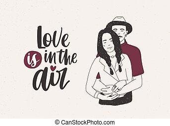 homem chapéu, estar, mulher, com, tranças, e, abraçar, dela, e, amor está ar, lettering, ligado, luz, experiência., bonito, par jovem, em, love., vetorial, ilustração, para, valentine, s, dia, postcard.