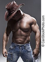 homem, chapéu, muscular, boiadeiro