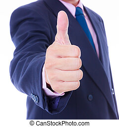 homem, cima, negócio, polegar
