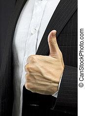 homem, cima, negócio, polegares