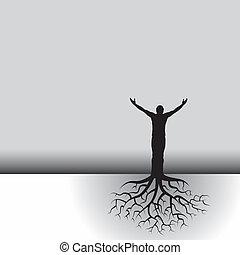homem, com, árvore, raizes