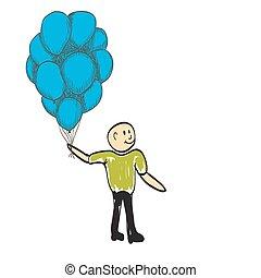 homem, com, balões, feliz, dia, rejoices, ilustração
