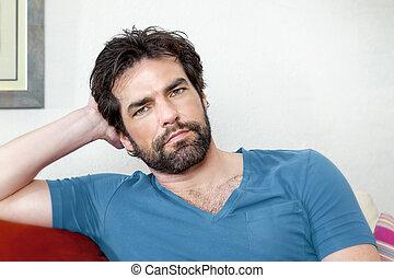 homem, com, barba