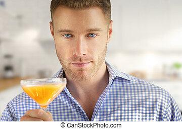 homem, com, bebida