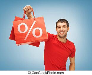 homem, com, bolsas para compras