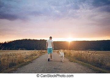 homem, com, cão, ligado, a, estrada rural