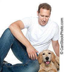 homem, com, cão, retriever dourado, filhote cachorro