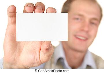 homem, com, cartão, para, texto