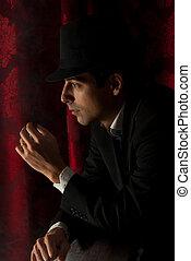 homem, com, chapéu, em, escuridão