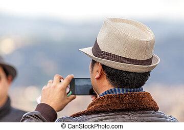 homem, com, chapéu
