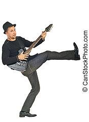 homem, com, chapéu, violão jogo