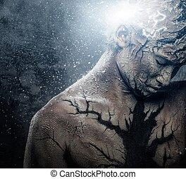 homem, com, conceitual, espiritual, arte corpo