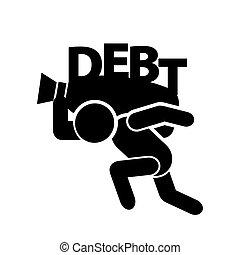 homem, com, dívida, símbolo, vetorial