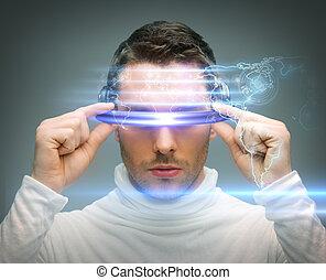 homem, com, digital, óculos