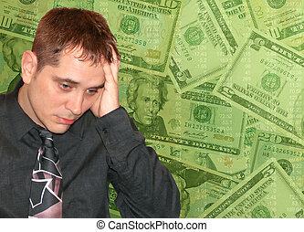homem, com, dinheiro, preocupações
