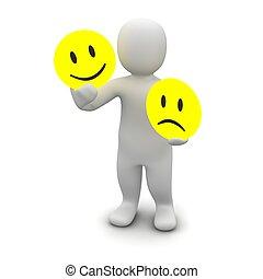 homem, com, emoções, symbols., 3d, representado,...