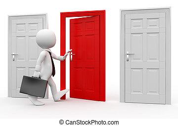 homem, com, entrar, um, porta vermelha