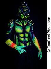 homem, com, fluorescente, bodyart., experiência preta