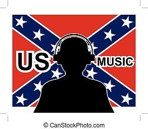 homem, com, fones, e, bandeira confederada, em, fundo