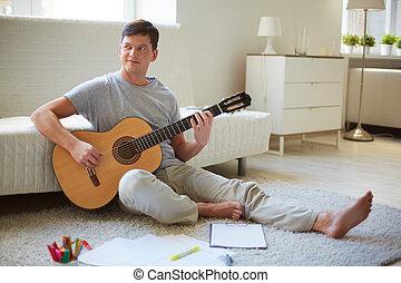 homem, com, guitarra