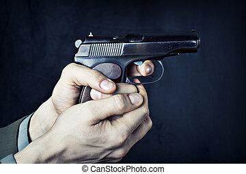 homem, com, gun.