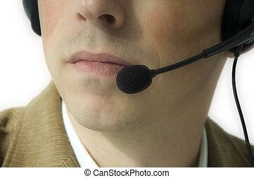 homem, com, headset