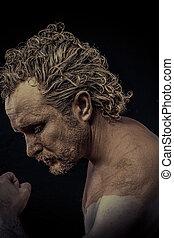 homem, com, lama, tudo, sobre, seu, corporal, pelado, conceitual, arte