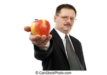 homem, com, maçã