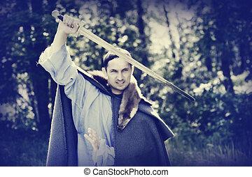 homem, com, medieval, espada