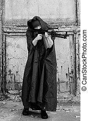 homem, com, metralhadora