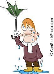homem, com, quebrada, guarda-chuva