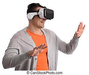 homem, com, realidade virtual, headset, ou, vidros 3d