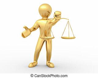 homem, com, scale., símbolo, de, justiça