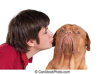 homem, com, seu, cão