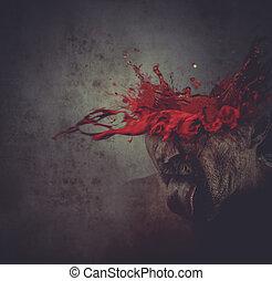 homem, com, seu, cabeça, explodindo, sangue, conceito, dor, enxaqueca