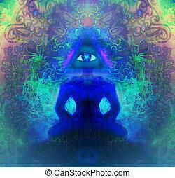 homem, com, terceiro olho, psíquico, sobrenatural, sentidos
