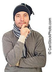 homem, com, tricote boné, pensando