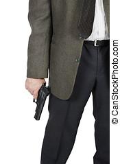 homem, com, um, pistola, em, seu, mão